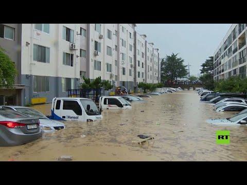 شاهد فيضانات تغمر شوارع دايجون الكورية وتدمر مئات المنازل فيها