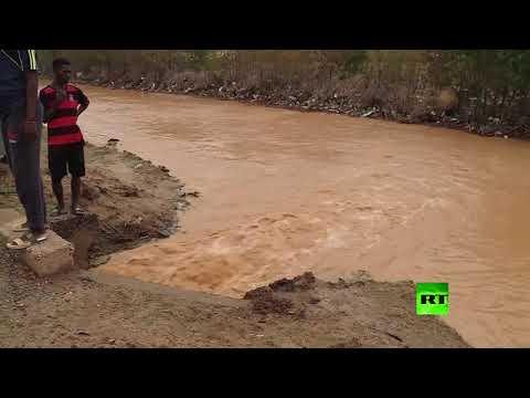 شاهد ارتفاع مناسيب النيل والمياه تغمر أحياء كاملة في  السودان