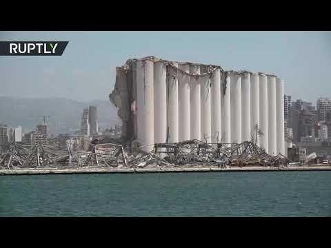 شاهد سفينة عسكرية تُوثق حجم الدمار الناجم عن انفجار مرفأ بيروت