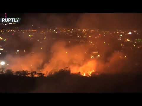 شاهد حريق ضخم في معهد المخطوطات القديمة وسط العاصمة الأرمنية