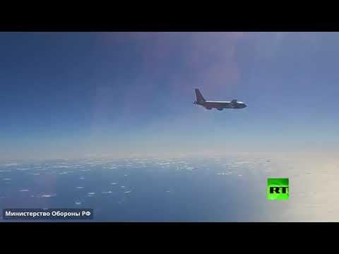 شاهد مقاتلات روسية تعترض قاذفات أميركية استراتيجية فوق بحر بيرينغ