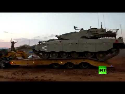 شاهد انقلاب دبابة إسرائيلية في الأغوار الشمالية دون إصابات أو ضحايا