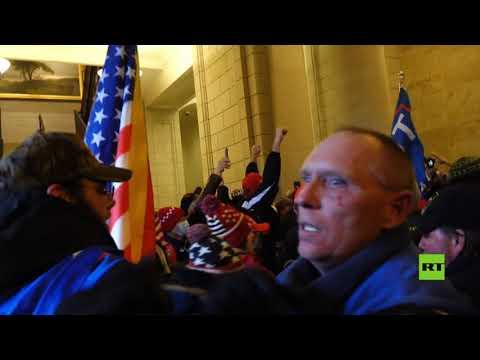 شاهداشتباكات عنيفة بين أنصار ترامب وقوات الأمن داخل مبنى الكونغرس