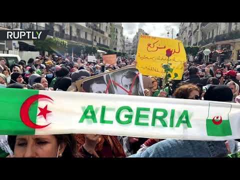 شاهدآلاف النساء يشاركن في مسيرة يوم المرأة في الجزائر
